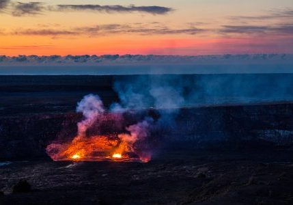 Halemaumau crater glow at sunset, Hawaii Volcanoes National Park